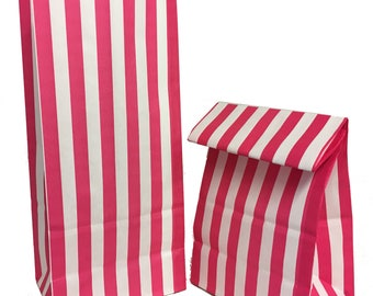 "Pink Stripe Pick n Mix Bags from Sun Packaging 4 + 3 x 9"" (100 per pack)"