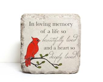 Remembrance Stone. 6x6 Concrete Garden Decor or Bookend/ Sympathy Gift/ Heavy Indoor or Outdoor/ Cardinal Decor/ Memorial Stone