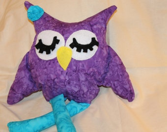 Purple Owl, Owl, Stuffed Owl, Home And Nursery Decor, Plush, Birthday Favors, Babyshower Gift, Stuffed Animal, Party Decor