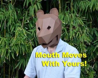 Animal Mask : Bear Mask with Moving Jaw!   Halloween Mask   Printable Mask   Paper Mask   Papercraft