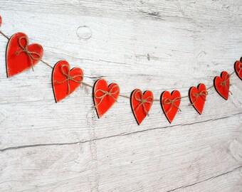 Valentines Day Banner Valentines Garland Love garland Wood Heart garland Red hearts Valentines Decor Christmas decorations /