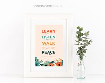 2018 LDS Young Womens Theme - Peace in Christ - Vintage Floral Printables