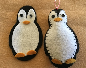 "DIY Felt Penguin Ornament Kit-Button Eyes-Felt Gift Tag-Christmas Crafts-""Make It""-Penguin Stuffy-Handmade Holiday Gifts-Planner Accessories"