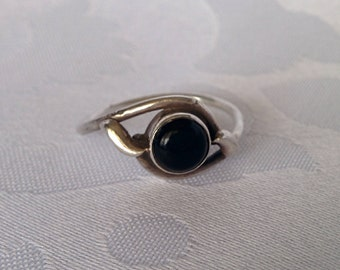 Sterling Silver Onyx Ring Sz 8, Black Onyx Ring, Sterling Silver Ring