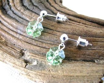 Tiny Silver and Sparkly Light Green Crystal Lucky Four Leaf Clover Shamrock St. Patrick's Day Earrings