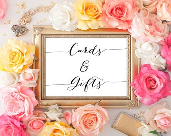 Cards and Gifts Wedding Sign - 5x7 Wedding Printable Art, Printable Wedding Sign, Wedding Decor, Reception Printable