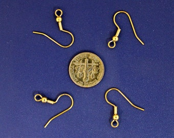 45 pr. gold-plated surgical steel earwires, fish hook earrings, surgical steel ear wires, gold-plated french hooks, earring supplies (Dg161)