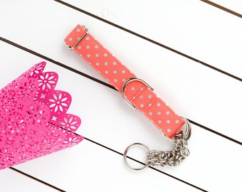 Coral Silver Metallic Dots Dog Collar - Female Dog Collar - Martingale Chain Collar - Dog Collar - Check Chain Collar - Metal buckle
