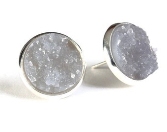 Silver and grey textured stud earrings - Faux Druzy earrings - Post earrings - Nickel free earrings (808)