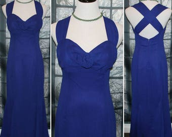 90's Vintage Dark Blue with Purple Undertones Evening Gown/Dress- By Steppin' Out / Los Angeles, New York, Paris