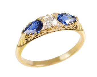 Vintage Pear Shaped Sapphire and Old Euro Cut Diamond Ring