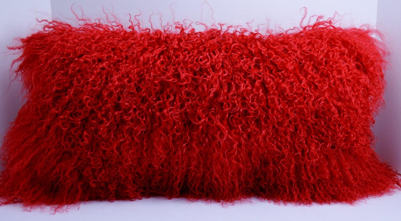Real Genuine Red Mongolian tibetan Lamb fur Pillow new usa