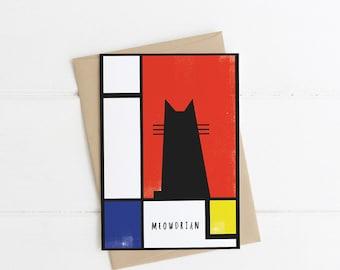 Piet Mondrian (Meowdrian) Artist cat Card