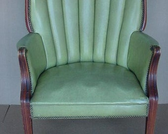 vintage wingback highback library den office chair bankers chair rolled and pleated