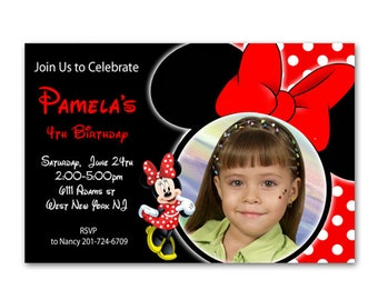 Red Minnie Mouse Birthday Invitation -Printable File