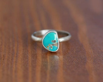 Carico Lake Turquoise Ring, Sterling Silver Ring - Size US 5.25