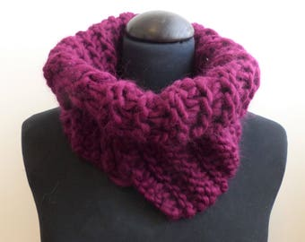 Magenta offset cowl neck warmer 100% wool
