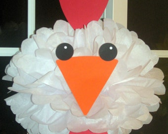 Chicken Rooster tissue paper pompom kit Old MacDonald farm party