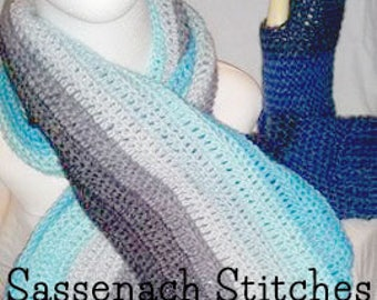 Blue and grey crochet scarf and fingerless gloves