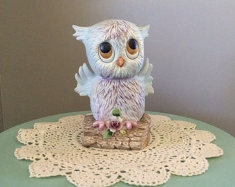 Vintage Owl Figurine, perched on a branch, woodland animal decor