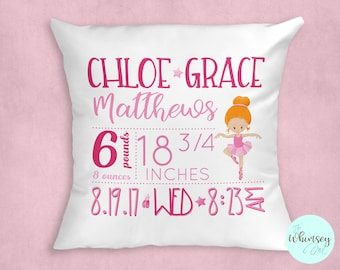 Personalized Birth Announcement Pillow, Baby Pillow, Personalized Pillow, New Mom Gift, Nursery Decor, Personalized Ballerina Baby Pillow