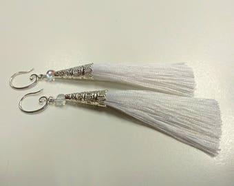 Tassel earrings, white earrings, long earrings, textile earrings, white tassel, silver tassel earrings