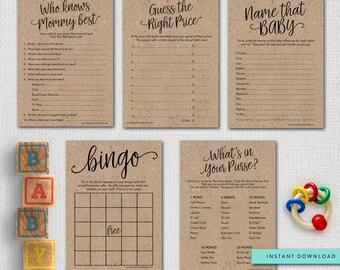 Printable Rustic Baby Shower Games Package, Printable Kraft Shower Games Digital Files, Instant Download