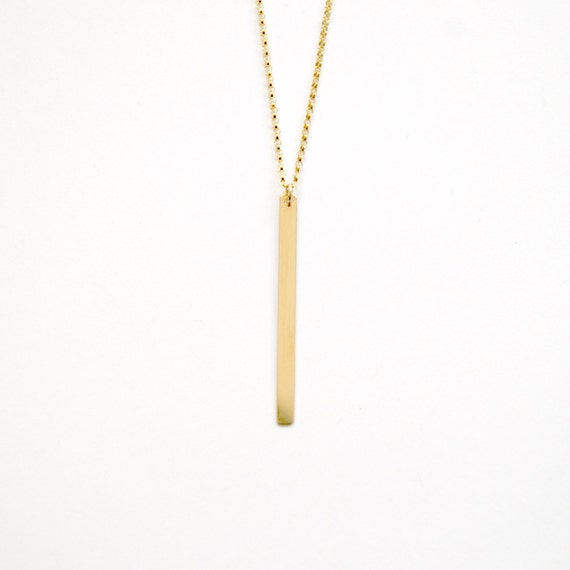 Long Gold Bar Necklace Skinny Gold Bar Pendant Thin Stick