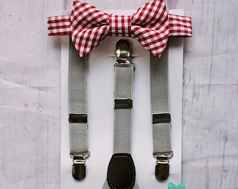 Boys Red Bow Tie Grey Suspenders, Boys Bow Tie and Suspenders, Toddler Bow Tie, Ring Bearer Outfit, Baby Boy Bow Tie, Boys Clothes, Boy Gift