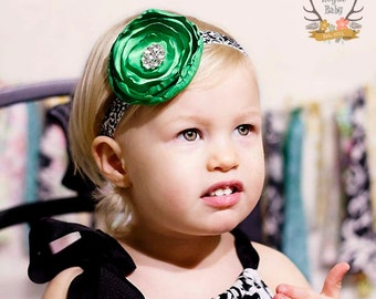 Emerald Green & Black White Damask Headband - Satin Flower with Rhinestones -  Baby Infant Toddlers Girls Women Flower Girl Wedding