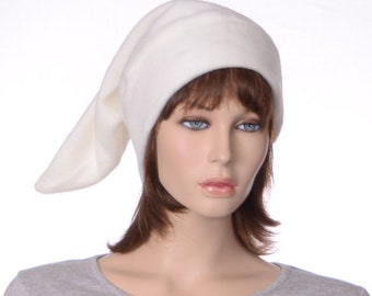 Cream Elf Cap Off White Dwarf Hat Pointy Stocking Cap for Man or Woman