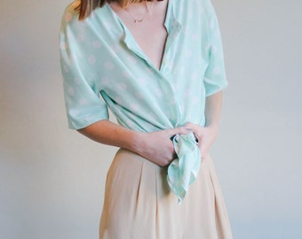 Mint Green Polka Dot Blouse | French Button Up Shirt | Short Sleeve Top | S-M-L