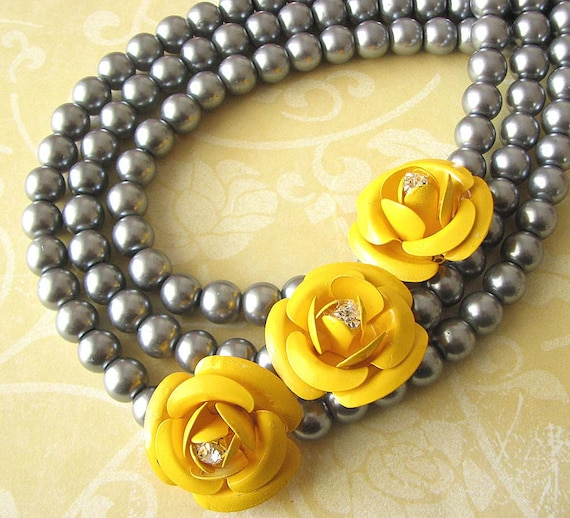Statement necklace beaded necklace flower necklace multi like this item mightylinksfo Choice Image