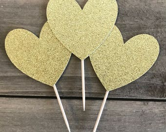 Heart Cupcake Topper, Gold Heart Cupcake Toppers, Dessert Toppers, Birthday Toppers, Baby Shower Toppers, Engagement Toppers, Wedding
