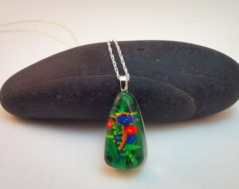 Hand painted resin pendant - abstract flowers & foliage - teardrop shaped