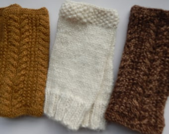 Alpaca Fingerless Mittens Hand Knitted Cable Stitch, Handmade, Women's Mitts