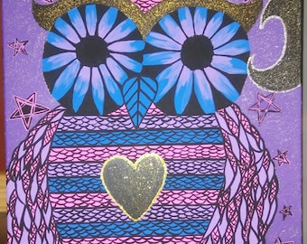 The Purple Midnight Owl Acrylic Painting On A 20x 24 Inch  Canvas