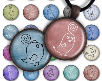 75% OFF SALE Digital Collage Sheet Hand Drawn Birds 1inch Round 25mm Circle Pendant Printable Download PC024 Instant Download Jewelry Making