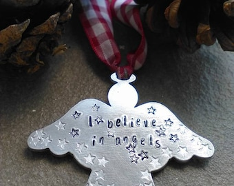 Angel Memorial Tree Decoration - Hand Stamped Decoration - Memorial - Angel Baby - Remembrance - Personalise - Personalize