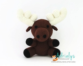 Crochet Moose, Moose Stuffed Animal, Moose Plush, Moose Amigurumi, Woodland Stuffed Animals, Crochet Toy - Made to Order