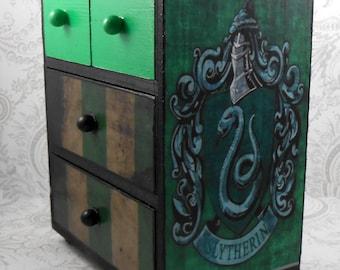Custom Slytherin Green and Black  Stash Jewelry Box
