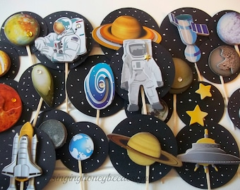blast off cake toppers, space cake toppers, astronaut toppers, solar system toppers, space birthday, spaceship birthday, blast off birthday