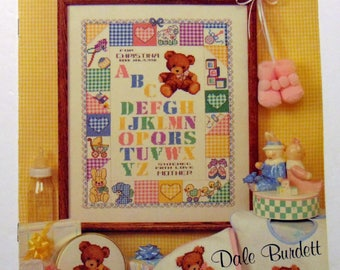 """Counted Cross Stitch """"Baby Sampler"""" Dale Burdett 1992 baby samplers alphabets"""