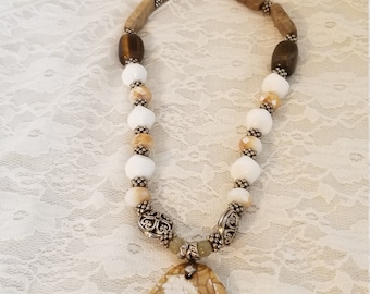 Handmade Necklace with Large Stone Pendant