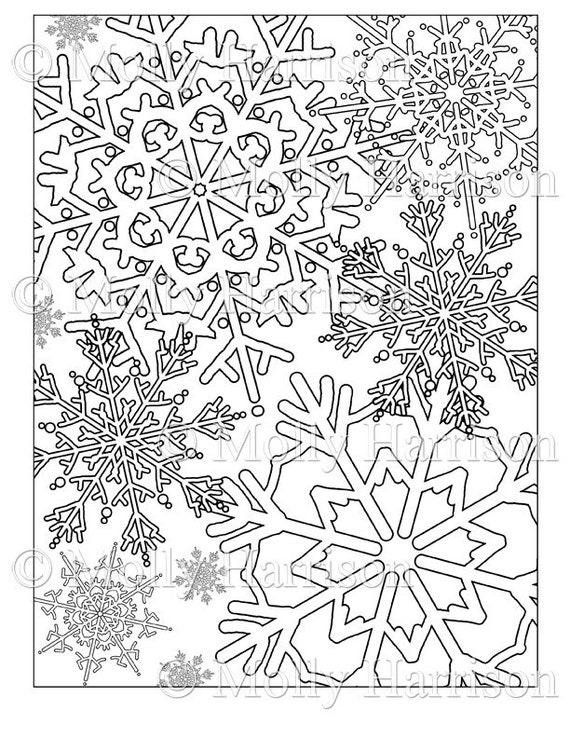 Items similar to Snowflake Coloring Page - Various ...