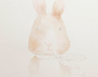 Bunny watercolor - original 8x10 painting