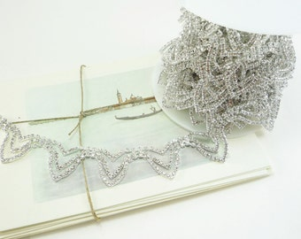 Silver Rhinestone Garland Trim, Rhinestone Chain, Rhinestone Trim, Wedding Rhinestone Applique, Clear Crystal Trim, 20mm ( 1 Yard Qty)
