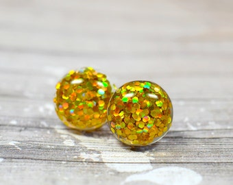 Gold Glitter Earrings, Sparkly Yellow Gold Party Jewelry, Christmas Studs New Years Eve Parties, Holiday Gift Ideas