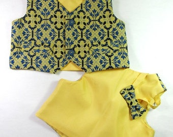 Baby boys yellow and blue waistcoat and bow tie, formal suit wear, for up to 2-3 years old.