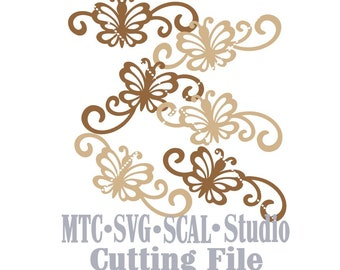 SVG Cut File Butterfly Flourish Set #01 Design #05 Spring MTC SCAL Cricut Silhouette Cutting Files